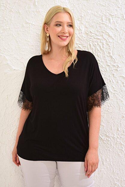 LC Waikiki Kadın Siyah Tişört 0WCC22Z8