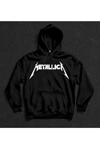 Freak Siyah Metallica Baskılı Kapüşonlu Sweatshirt