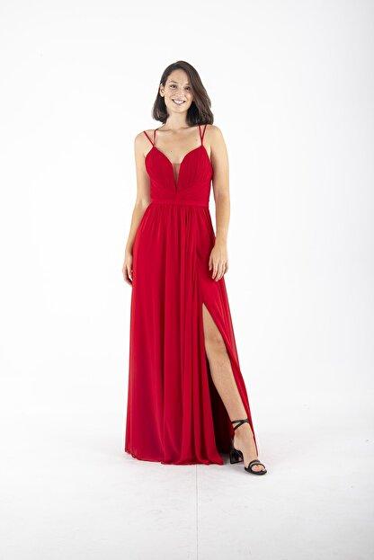 Ardanewline Kadın Kırmızı Ip Askılı Üzeri Drapeli Şifon Kırmızı Abiye & Mezuniyet Elbisesi 1301586