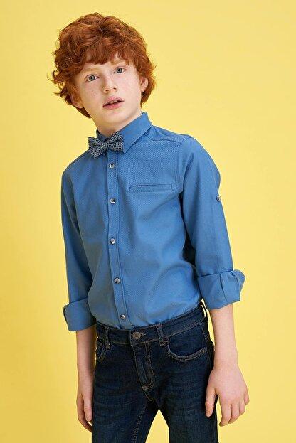 Defacto Erkek Çocuk Papyonlu Pamuklu Kolları Katlanabilir Gömlek