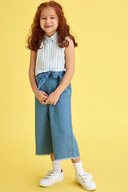 Defacto Kız Çocuk Mavi Kot Jeans