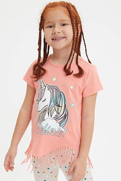 Defacto Kız Çocuk Unicorn Baskılı Püskül Detaylı Kısa Kollu T-shirt