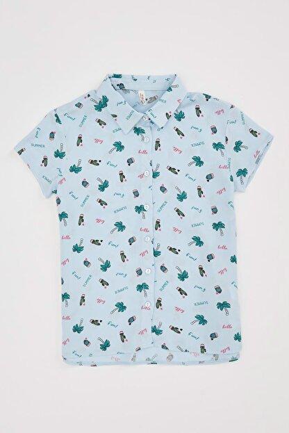 Defacto Kız Çocuk Kaktüs Desenli Kısa Kollu Gömlek