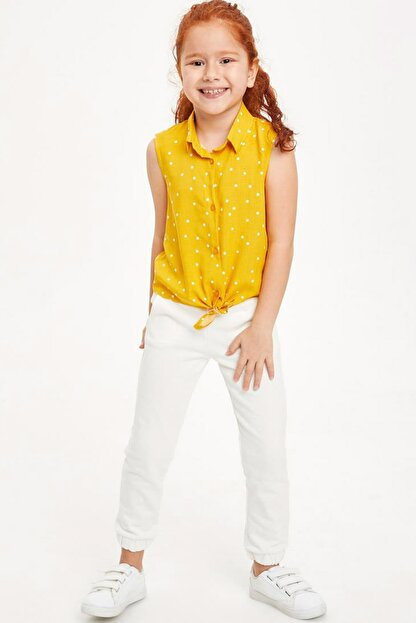 Defacto Kız Çocuk Bağlama Detaylı Kolsuz Gömlek