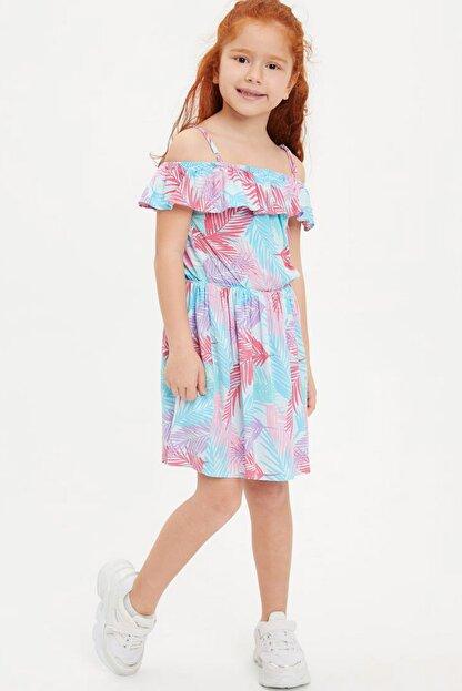 Defacto Kız Çocuk Tropik Desenli Dokuma Elbise