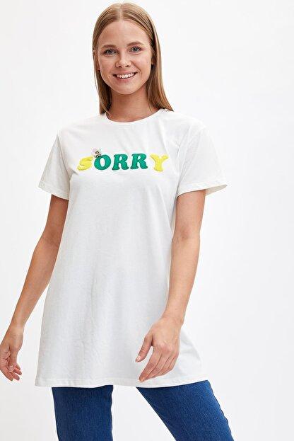 Defacto Kadın Modest Ekru Baskılı Uzun T-shirt M0131AZ.19HS.ER105