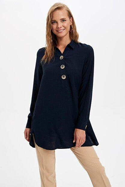 Defacto Kadın Lacivert Gömlek Yaka Düğmeli Tunik L0990AZ.19AU.NV167