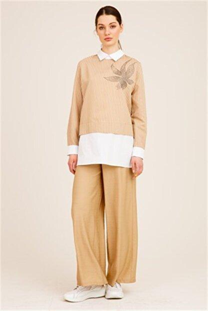 Ghisa Kadın Camel Önü Taşlı Tunik Pantolon Takımı