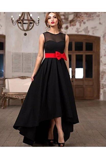 Styling Park Kadın Siyah Fiyonk ve Tül Detaylı Abiye Elbise