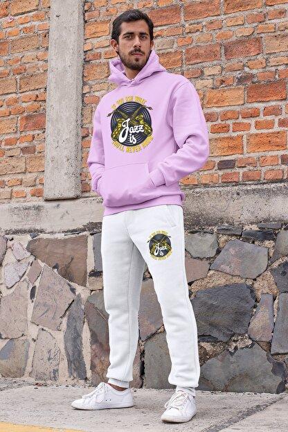 Angemiel Erkek Pembe Wear Jazz Ve Saksafon Eşofman Takımı Kapüşonlu Sweatshirt Beyaz Eşofman Altı