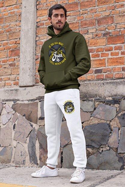 Angemiel Erkek Yeşil Jazz ve Saksafon Kapşonlu Sweatshirt ve Beyaz Eşofman Altı Takım