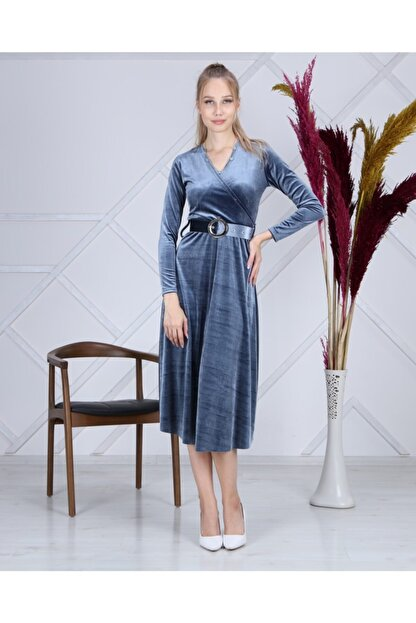 Apple Cix Ithal Kadife Elbise (kemerli)