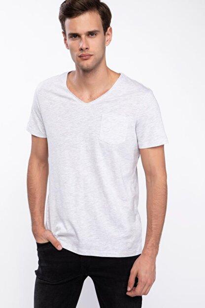 Defacto Erkek Gri Tek Cepli V Yaka Slim Fit T-shirt J9145AZ.19SP.GR363