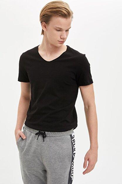 Defacto Slim Fit V Yaka Basic Kısa Kollu Siyah Tişört