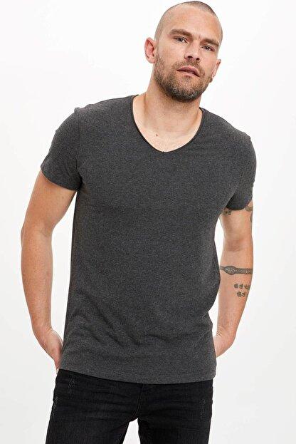 Defacto Erkek Antrasit Slim Fit T-Shirt M4792AZ.20SP.AR160