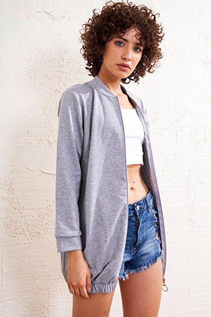 Eka Kadın Gri Ön Fermuarlı Eteği Lastikli Uzun Sweatshirt