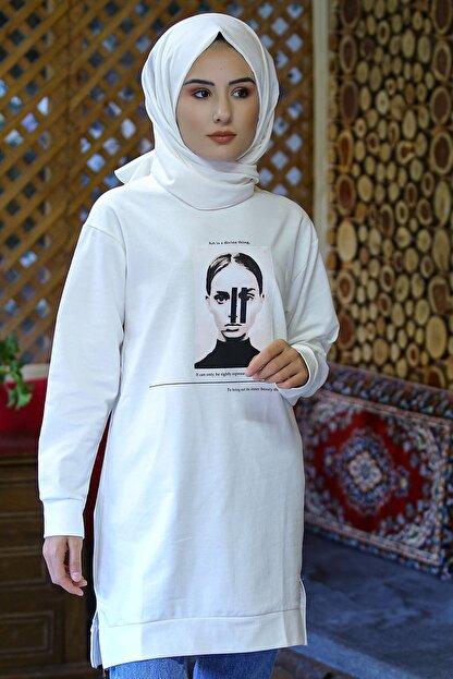 Nirvana Kadın Beyaz Iki Iplik Baskılı Tunik