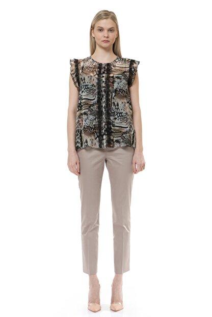 BİRELİN Kadın Kahverengi Volan ve Dantel Detaylı Bluz