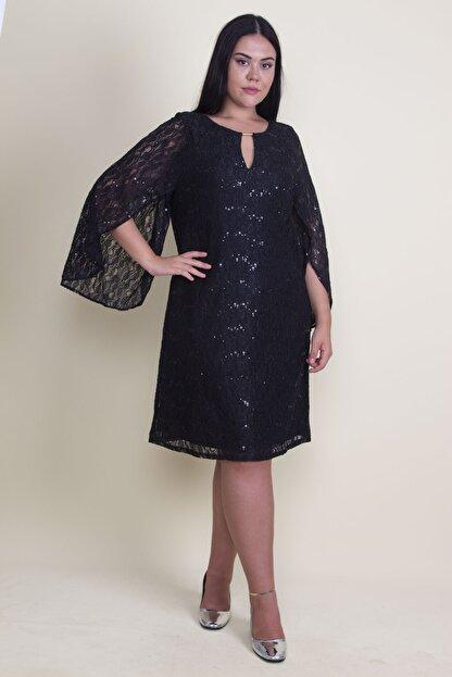 Şans Kadın Siyah Öpücük Yaka Astarlı Dantel Elbise 65N18224