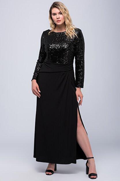Şans Kadın Siyah Üst Kısmı Payet Yırtmaçlı Elbise 65N18255