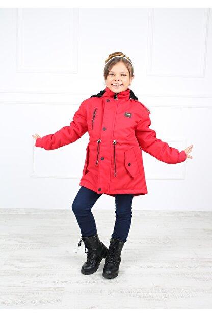 B&T Kız Çocuk  Kırmızı Peluşlu Kaban Mont