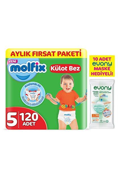 Molfix Külot Bez 5 Beden Junior Aylık Fırsat Paketi 120 Adet + Evony Maske 10'lu Hediyeli