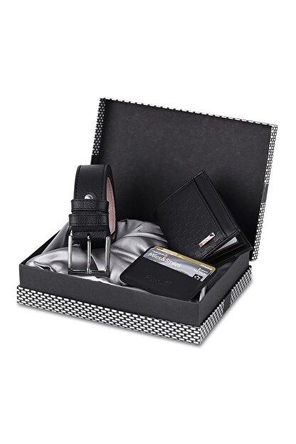 Polo Air Siyah Dama Desenli Kutulu Erkek Cüzdan Kemer Kartlık Seti - Sete-3013-s
