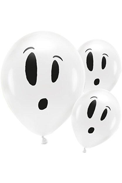KullanAt Market Cadılar Bayramı Hayalet Baskılı Beyaz Balon 10'Lu