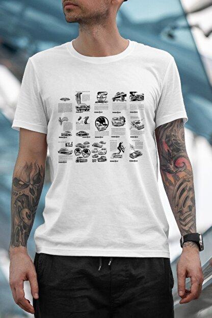 Bilmemen Ayıp Erkek Beyaz Skoda 440 News Baskılı T-Shirt