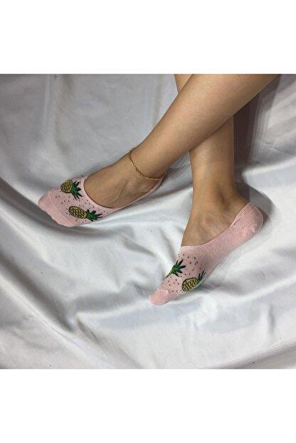 Adel Kadın Pembe Bambu Dikişsiz Silikonlu Babet Çorap