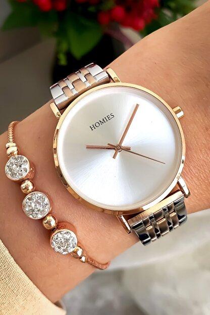 Homies Kadın Beyaz Pembe Kol Saati