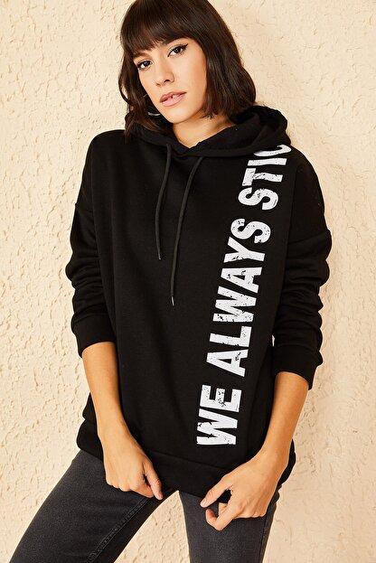Bianco Lucci Kadın Siyah Kapüşonlu Baskılı Oversize 3 Iplik Şardonlu Sweatshirt