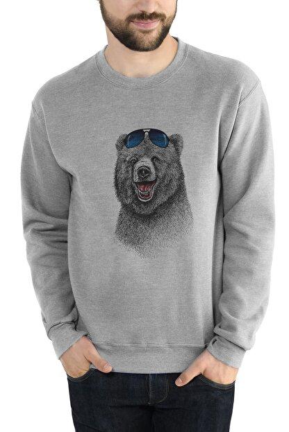 Collage Ayı Kutup Ayısı Boz Ayı Bear Baskılı Gri Erkek Örme Sweatshirt Uzun Kol