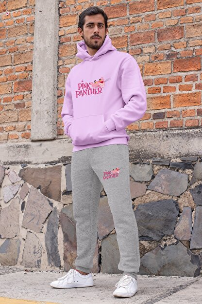 Angemiel Wear Pembe Panter Erkek Eşofman Takımı Pembe Kapşonlu Sweatshirt Gri Eşofman Altı