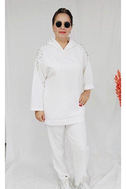Ketche Kadın Beyaz Incili Pantolon Takım