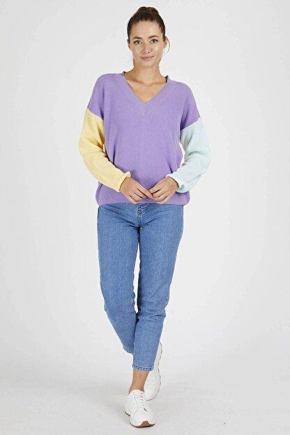 Mio Secret Kadın Oversize Blok Renkli Kazak