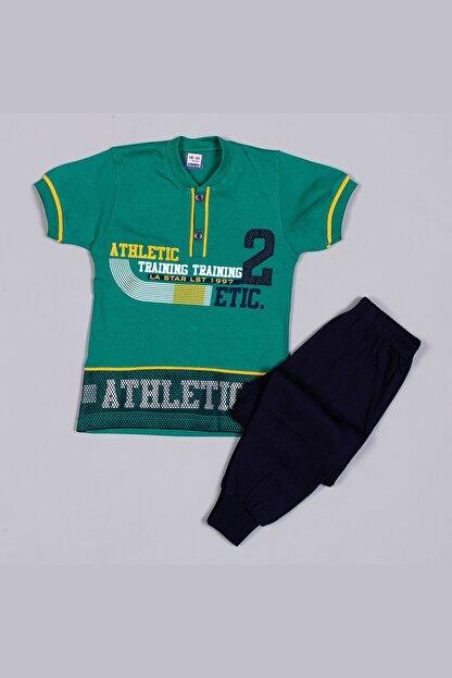 Tarık Erkek Çocuk Yeşil Penye File Nakışlı  Pijama Takımı 2321