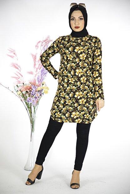 MODANOİVA Kadın Sarı Çiçek Desen Krep Tesettür Tunik