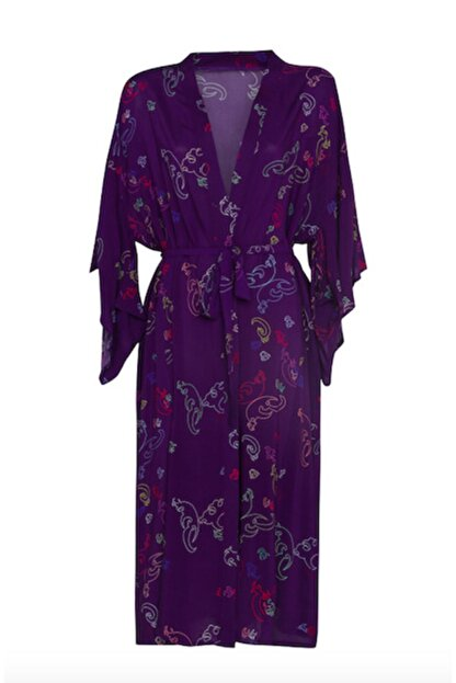 iodes Kadın Mor Uzun Kimono