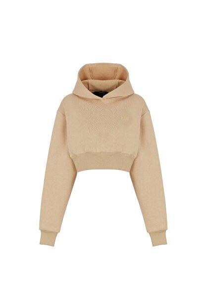 Fineapple Kadın Bej Kapüşonlu Crop Sweatshirt