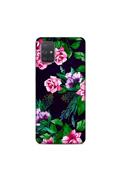 Pickcase Samsung Galaxy A71 Kılıf Desenli Arka Kapak Pembe Çiçekler