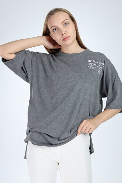Millionaire Kadın Koyu Gri Real Eyes Oversize T-shirt