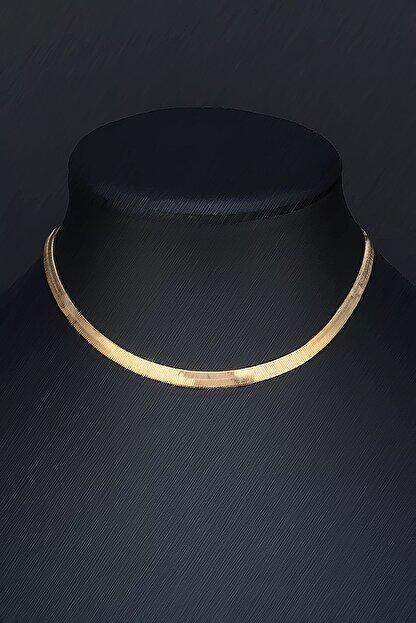 Tmec Silver Gold Renk Gümüş Italyan Yassı Ezme Zincir