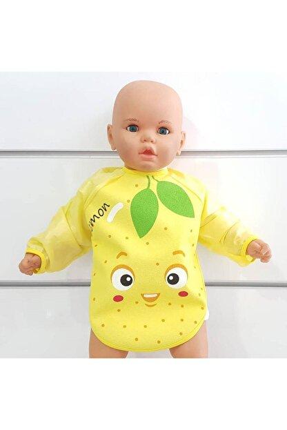 BebekOdam Limon Desenli Su Geçirmez Uzun Kollu Önlük