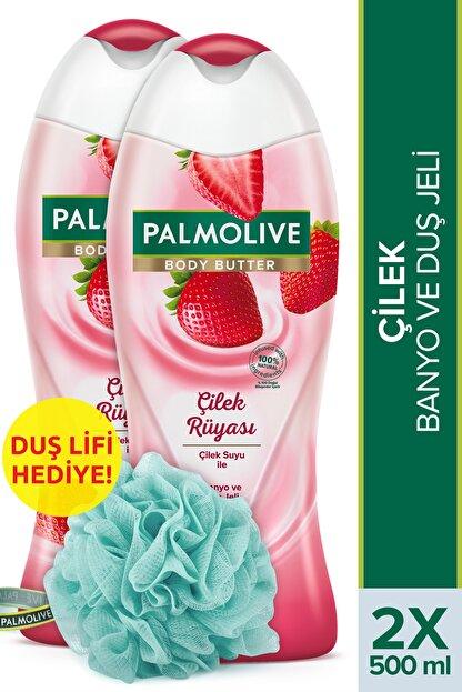 Palmolive Body Butter Çilek Rüyası Banyo Ve Duş Jeli 500 ml X 2 Adet Duş Lifi Hediye