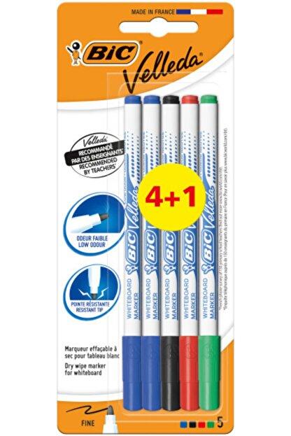 Bic Velleda Tahta Kalemi Yuvarlak Uçlu Fine 4 Renk +1 Mavi Kartela 1721 875698