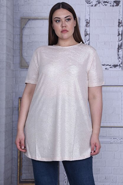 Şans Kadın Bej Sim Detaylı Bluz 65N25956