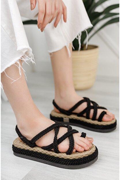 Moda Değirmeni Kadın Siyah Parmak Arası Sandalet