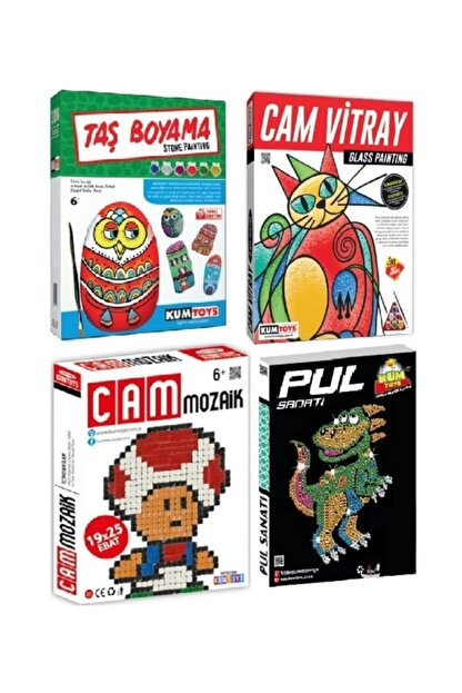 Kumtoys Pul,taş Boyama,cam Vitray,cam Mozaik Sanatı 4lü Set