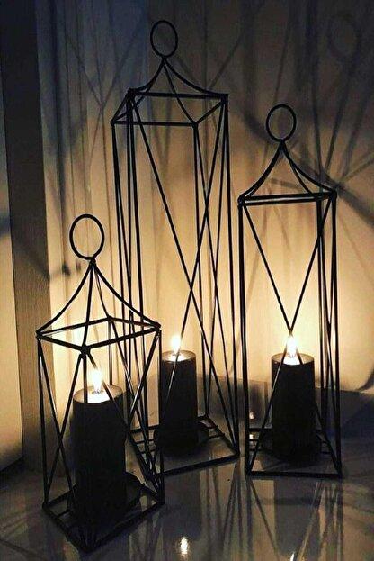 Lilya Home Dekoratif 3'lü Set Fener Mumluk